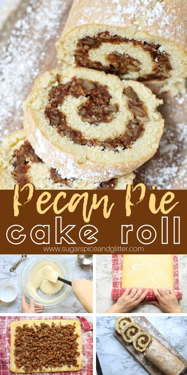 A vanilla cake roll with a delicious Pecan Pie filling - an unexpected yet decadent and delicious dessert for the holidays. The Pecan Pie filling has no corn syrup, instead we used maple syrup