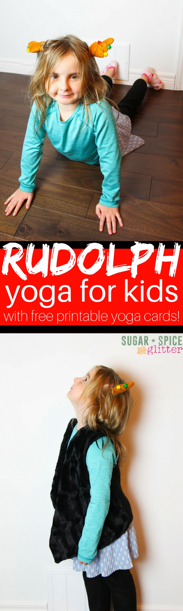 A fun winter gross motor activity for kids - a kids yoga sequence inspired by Rudolph and all his friends!