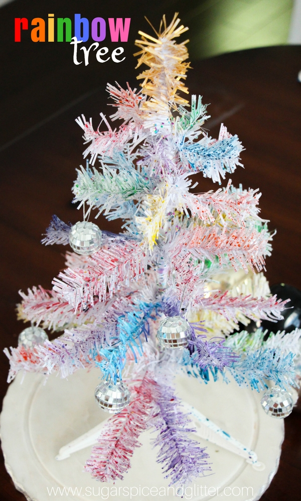 Rainbow Tree Process Art Project, a pretty Christmas tree craft for kids - make a gorgeous Rainbow Tree Centrepiece for Christmas