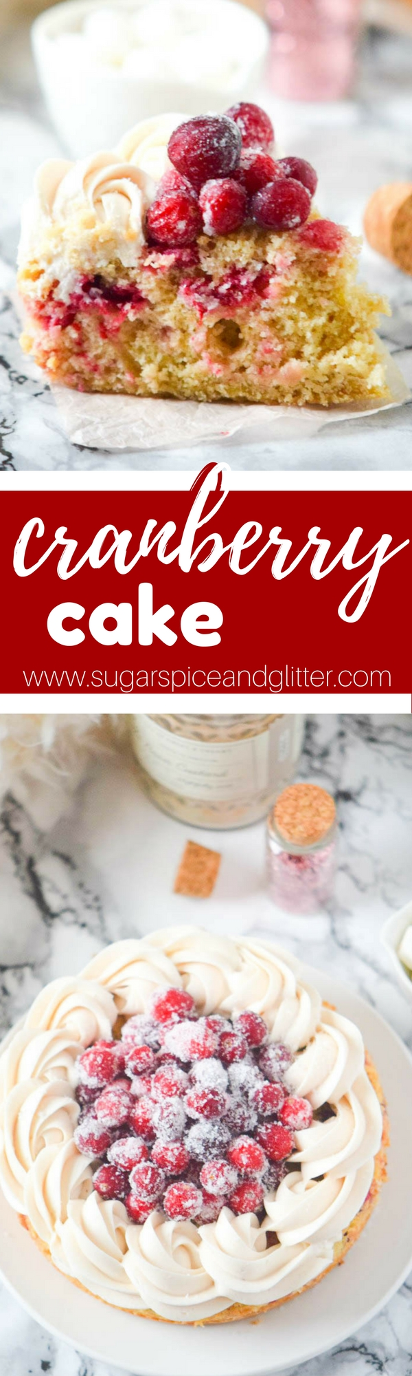 A simple cranberry cake with sugared cranberries and vanilla buttercream - this cake is super simple and perfect for busy holiday schedules