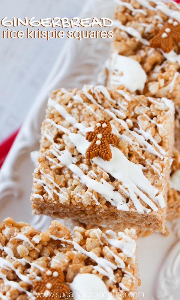 Gingerbread Rice Krispie Squares, a fun kids' Christmas recipe and it's no-bake to boot!