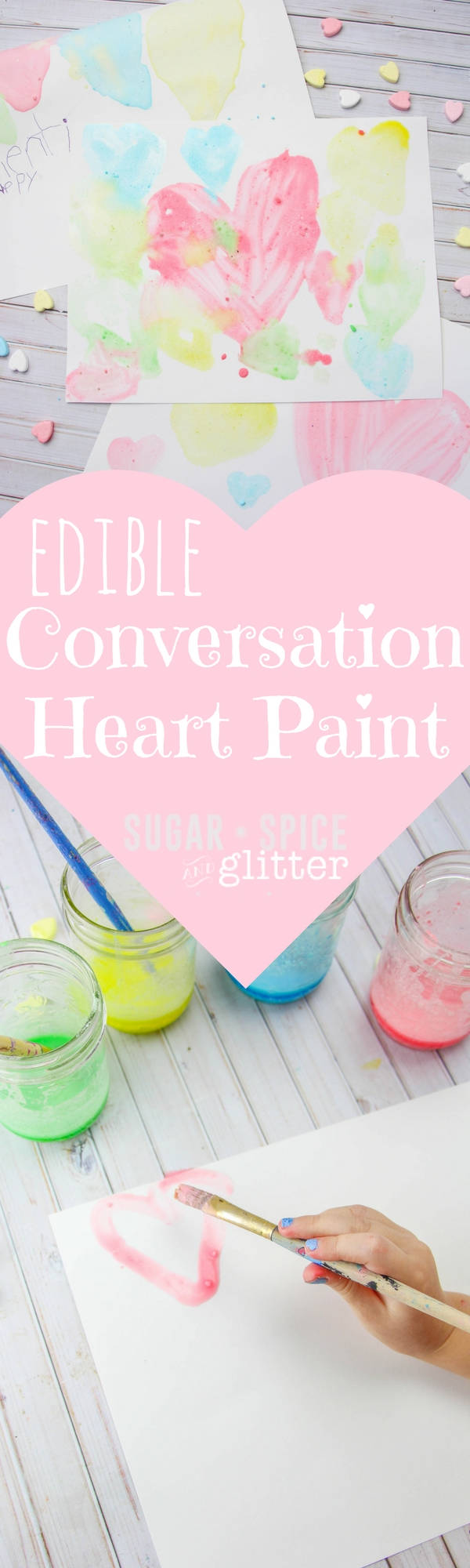 Edible Conversation Heart Paint - a homemade candy paint recipe is a great way to use up leftover conversation hearts and results in a glossy and yummy-scented paint. Perfect for Valentine's Day for kids
