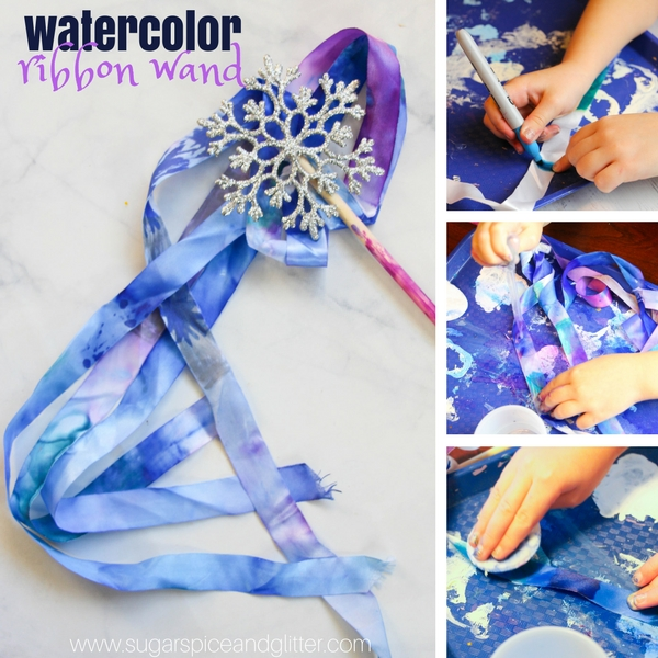 How to make a watercolor ribbon wand with permanent markers for a magical winter craft