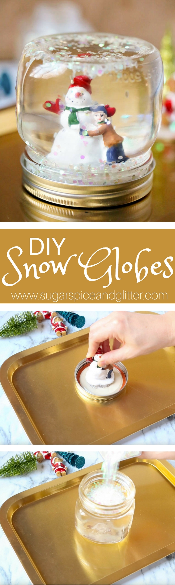 This DIY Mason Jar Snow Globe is absolutely magical craft that kids can help make! It also makes a beautiful homemade gift - customize it with favorite character figurines or travel souvenirs.