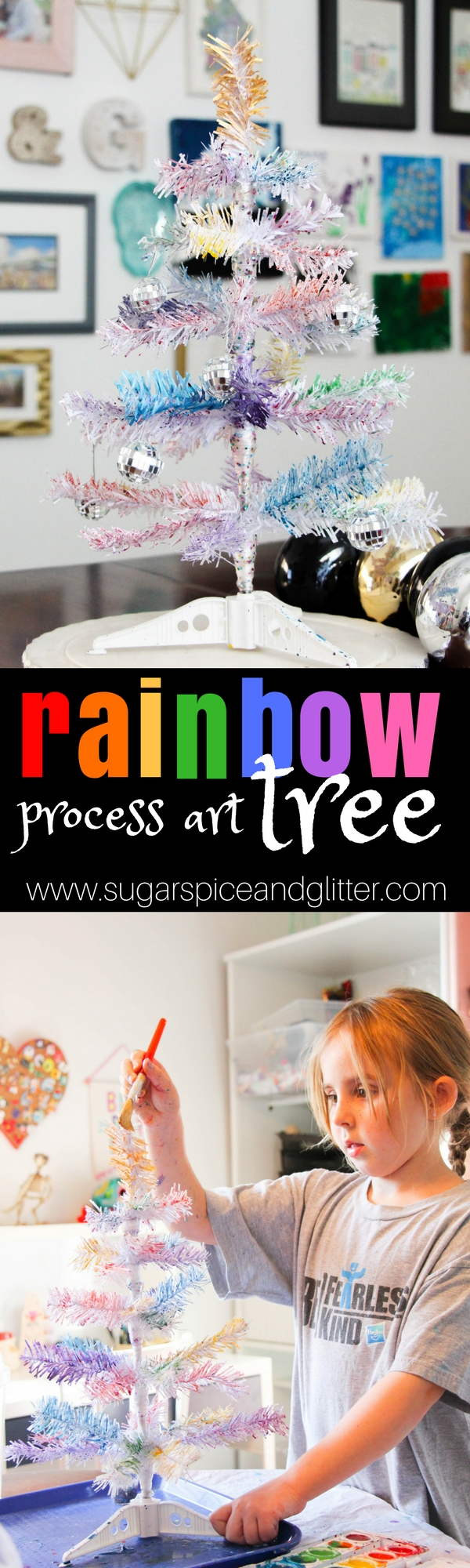 A beautiful process art project for Christmas - this Rainbow Tree is a fun Christmas craft for kids that turns into a magical piece of Christmas decor.