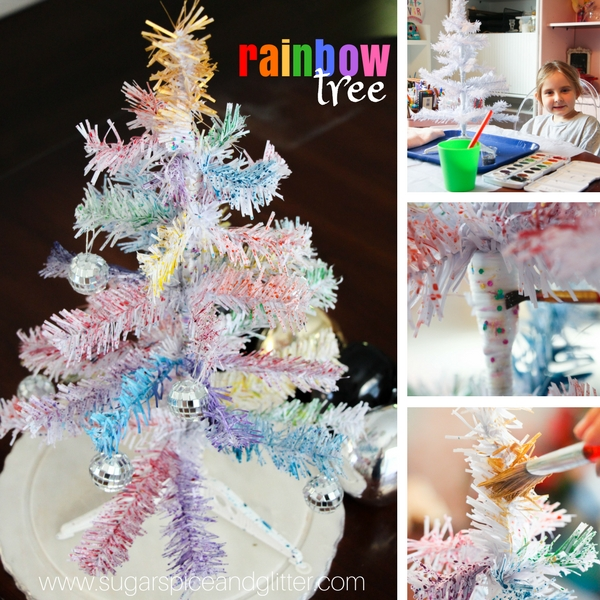 Rainbow Tree process art project