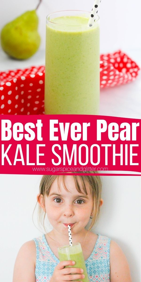 How to make the best ever kale smoothie with pear, banana and almond milk. An easy green smoothie recipe for kids, kale pear smoothie with a slight vanilla-almond flavor