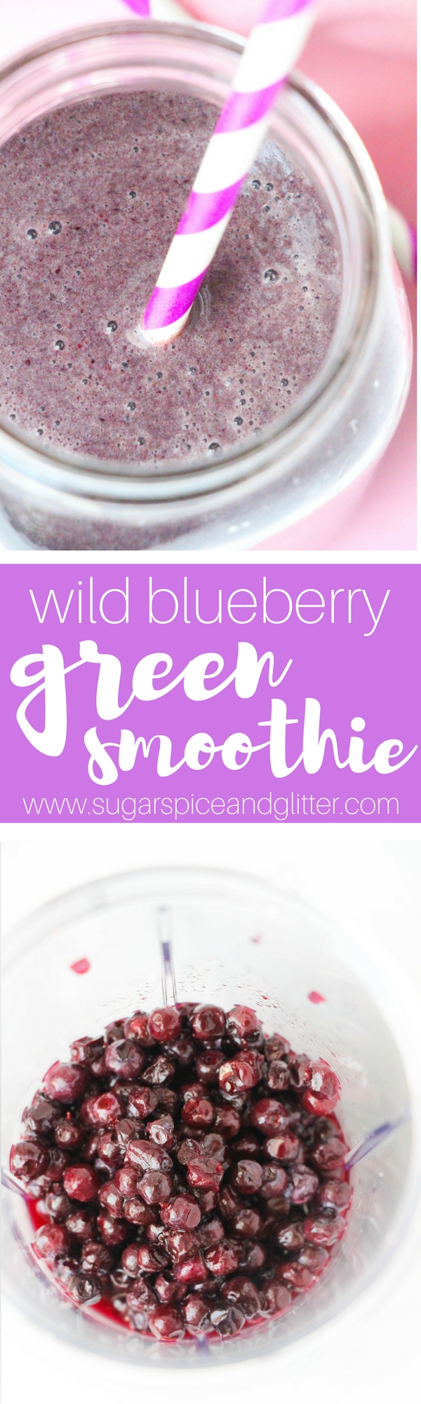 Wild Blueberry Spinach Smoothie - a delicious green smoothie without the green color, perfect for kids