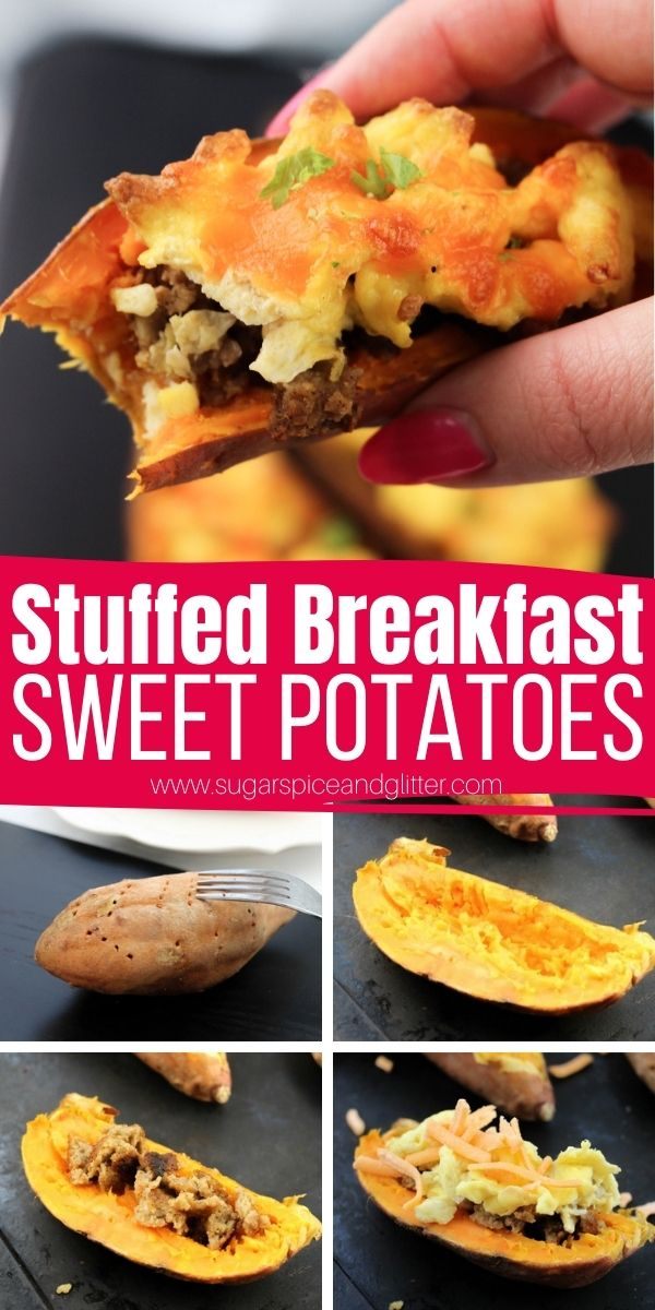 How to make 15-minute Breakfast Sweet Potatoes - a delicious, healthy breakfast inspired by twice-baked potatoes. A sweet and savory brunch vegetable recipe