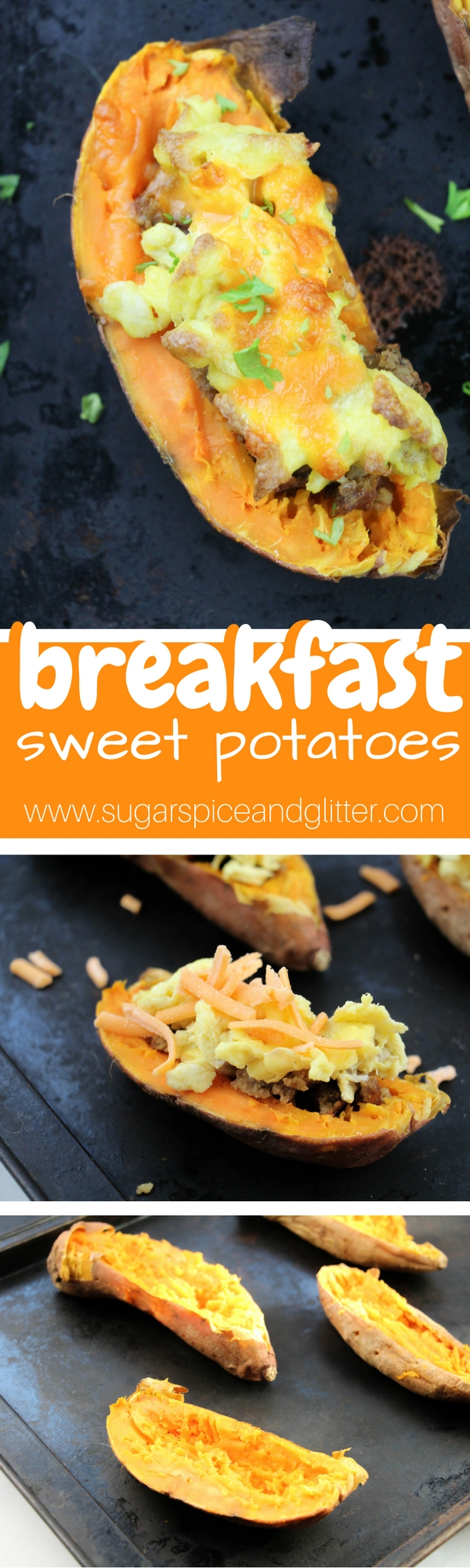 15-minute Breakfast Sweet Potatoes - a delicious, healthy breakfast inspired by twice-baked potatoes. A sweet and savory brunch vegetable recipe