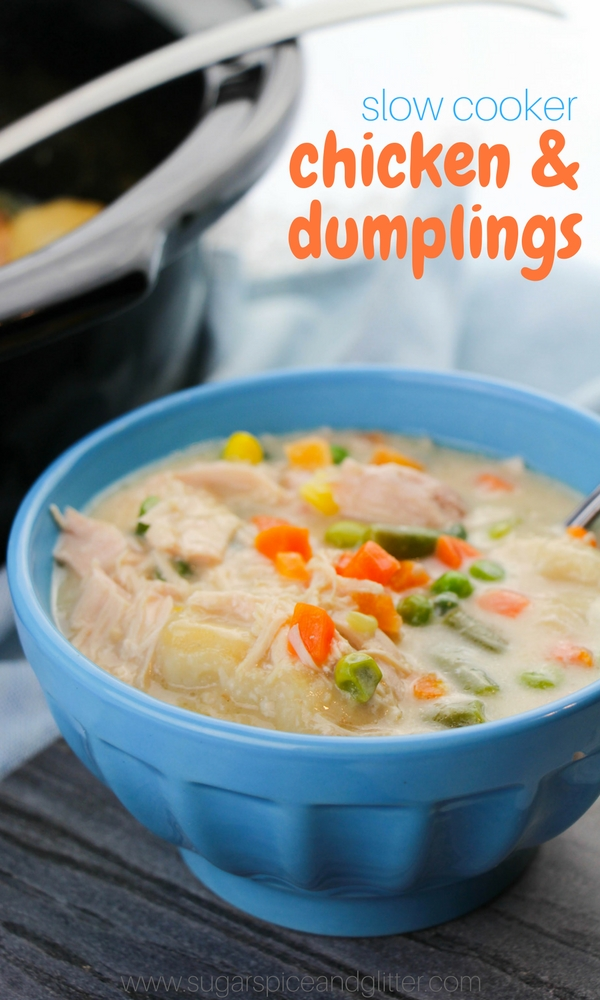Slow Cooker Chicken and Dumpling recipe - a classic comfort food recipe made even easier in the crockpot! Hearty chicken stew with homemade dumplings
