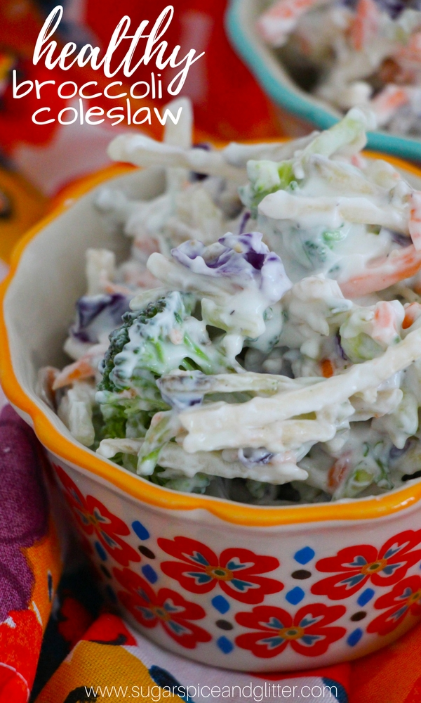 A healthy no-mayo broccoli coleslaw made without sugar, this is a creamy, crunchy coleslaw that you can feel good about loading into your plate