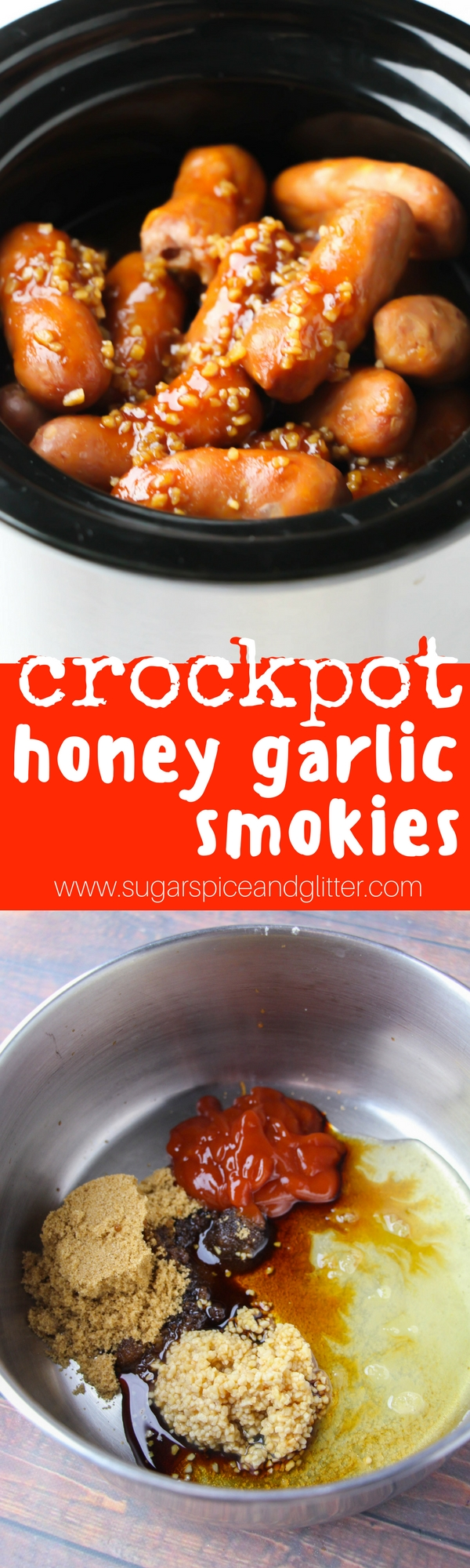 An easy crockpot sausage appetizer recipe, these Crockpot Honey Garlic Smokies are a sweet and smoky sausage recipe for tailgating or fall parties