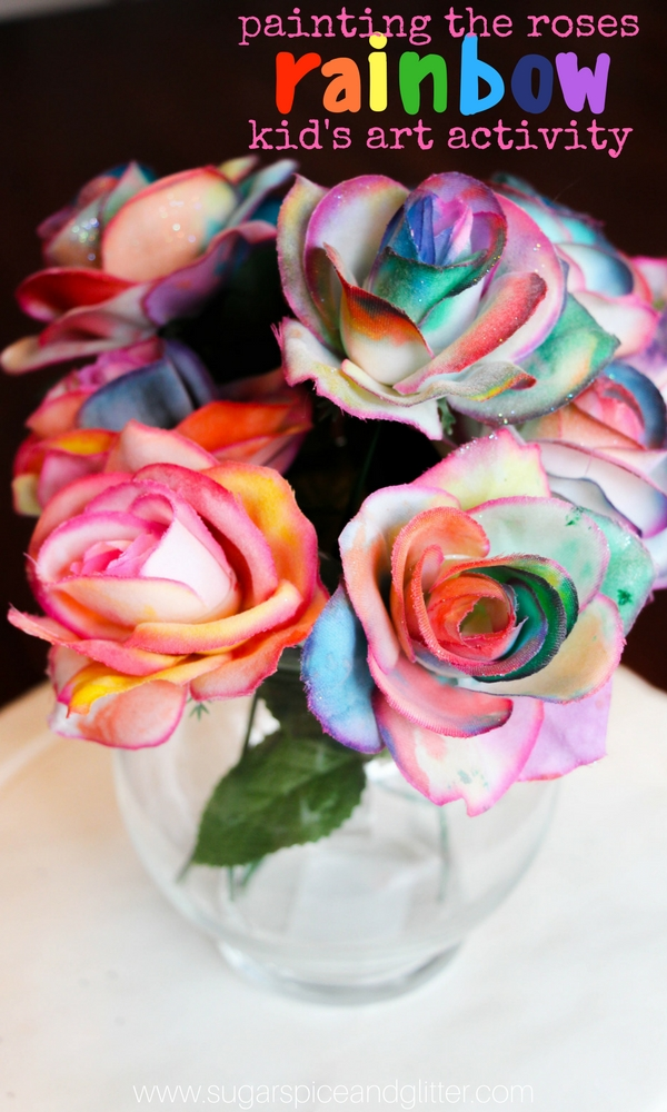 Painting Rainbow Roses, a fun Disney craft or a Valentine's Day centrepiece kids can make