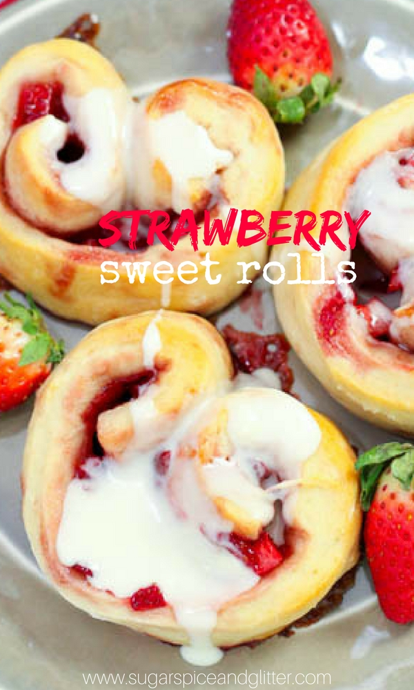 Strawberry Sweet Rolls, heart cinnamon rolls perfect for a romantic brunch or just a fun summer strawberry dessert