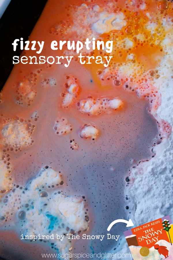 Fizzy, Erupting Snowy Day Sensory Bin - colorful and fun winter sensory play with a bonus art activity at the end!