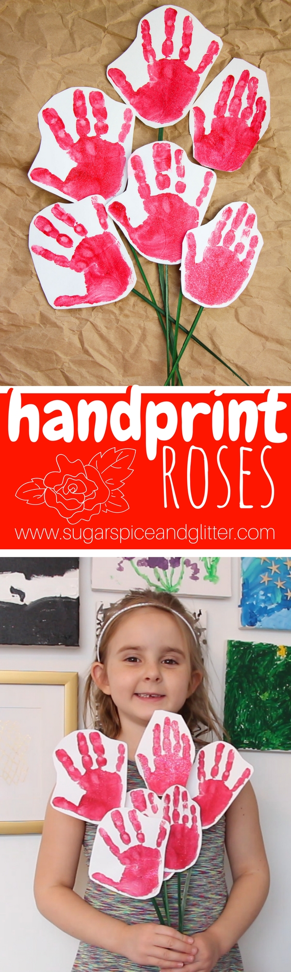 Kids will be so proud to give these handprint roses for Valentine's Day or as a Mother's Day craft