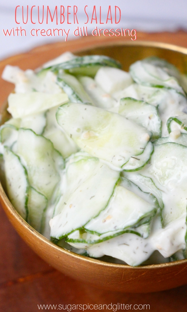 A 5 minute Vegetable Side Dish, this Cucumber Salad with Creamy Dill Dressing is a refreshing, tangy side dish or burger topping
