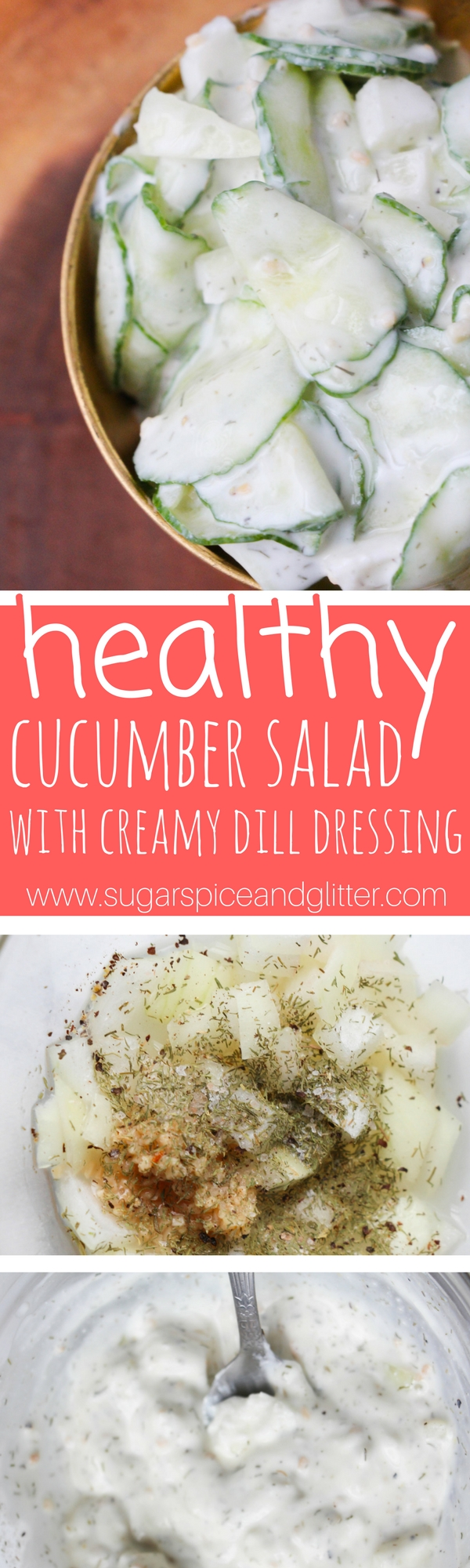A creamy, tangy and refreshing cucumber salad recipe - this vegetable side dish is ready in less than 5 minutes and makes a great last-minute addition to a BBQ or busy weeknight meal.