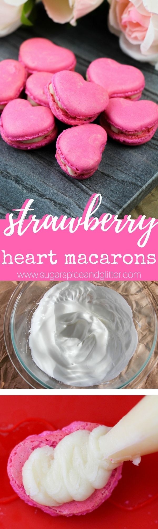 These cute heart-shaped macarons are the easiest macarons you will ever make! Strawberry macarons make a stunning Valentine's dessert, bridal shower dessert, or homemade anniversary gift