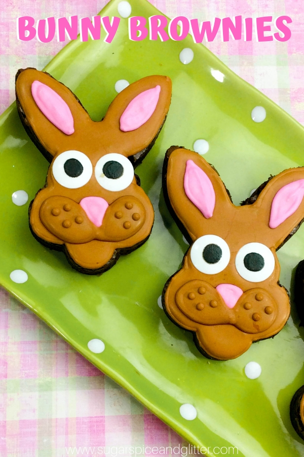A super simple tutorial for Easter Bunny Brownies, a sweet Easter dessert for the kids, whether you're serving after Easter supper or putting in a special Easter lunchbox