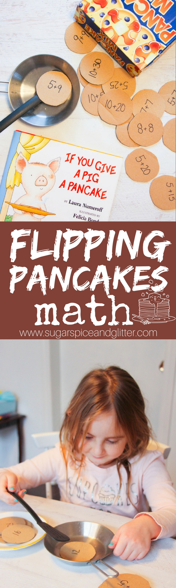 If You Give a Pig a Pancake inspired math activity - Flipping Pancakes math! A hands on math activity with quick DIY play food