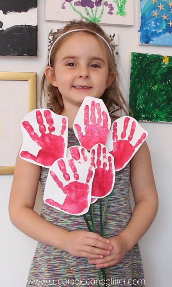 Just what any mom wants for Mother's Day or Valentine's Day - a bouquet of handprint roses