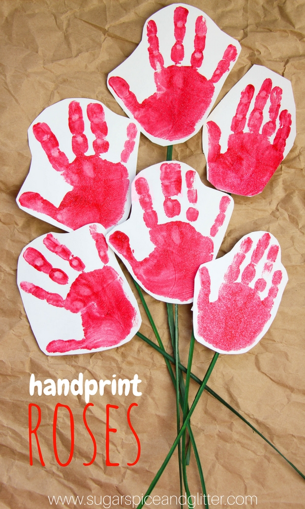 These Handprint Roses are a sweet kid-made craft for Valentine's Day or Mother's Day