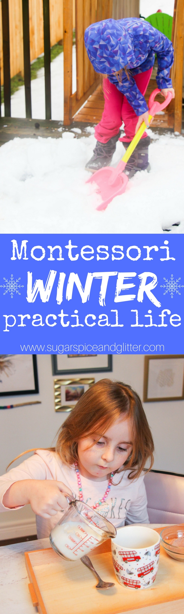Montessori Winter Practical Life activities that require little to no preparation. From heavy work snow shovelling (and it's benefits) to a hot chocolate tray and formal lesson, these activities will keep kids happy and learning in the winter!