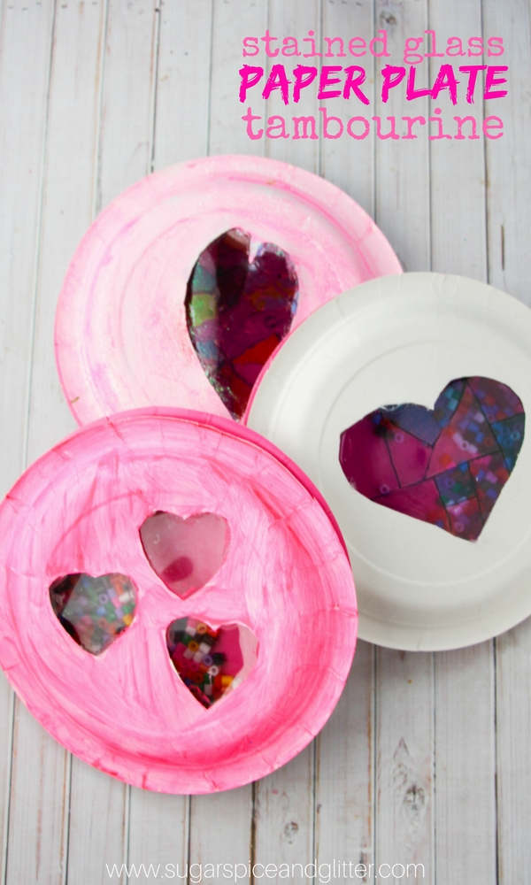 Stained-Glass Paper Plate Tambourines are a fun heart craft or music craft for creative kids