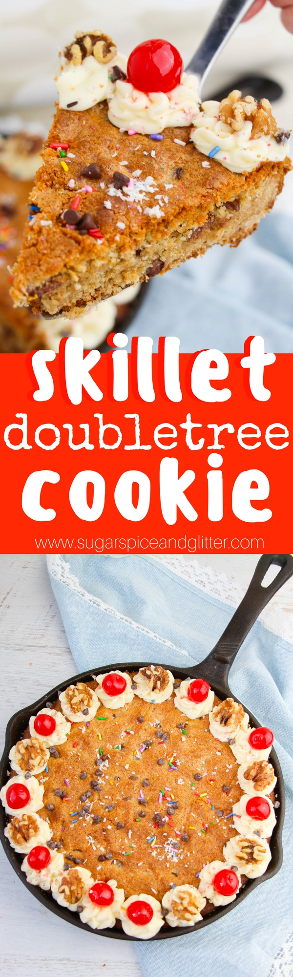 The BEST ever GIANT chocolate chip cookie recipe. A skillet dessert that is super simple to whip up and makes a big impression. Top with sundae-style toppings for the ultimate birthday cookie, perhaps for someone who doesn't like cake!