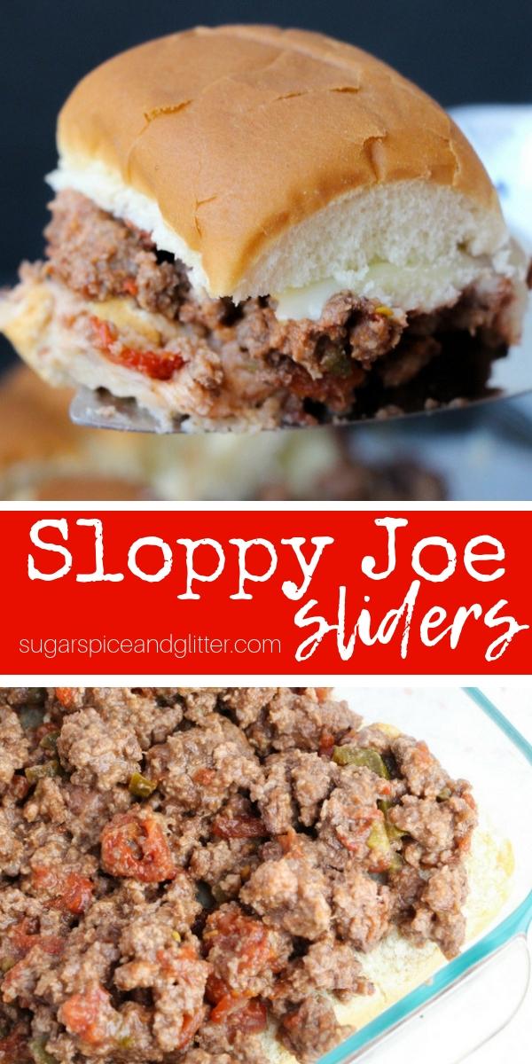 Easy Homemade Sloppy Joe recipe for Sloppy Joe Sliders, the best hamburger beef slider recipe for families. These party sliders also have plenty of hidden veggies