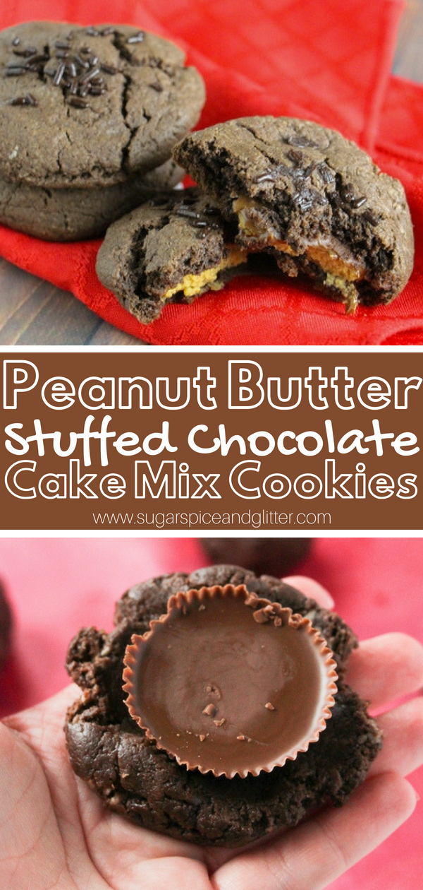 Peanut Butter Chocolate Cookies - super soft and fluffy chocolate cookies stuffed with Reese's Peanut Butter Cups
