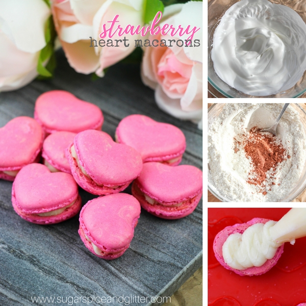 Strawberry heart macarons recipe