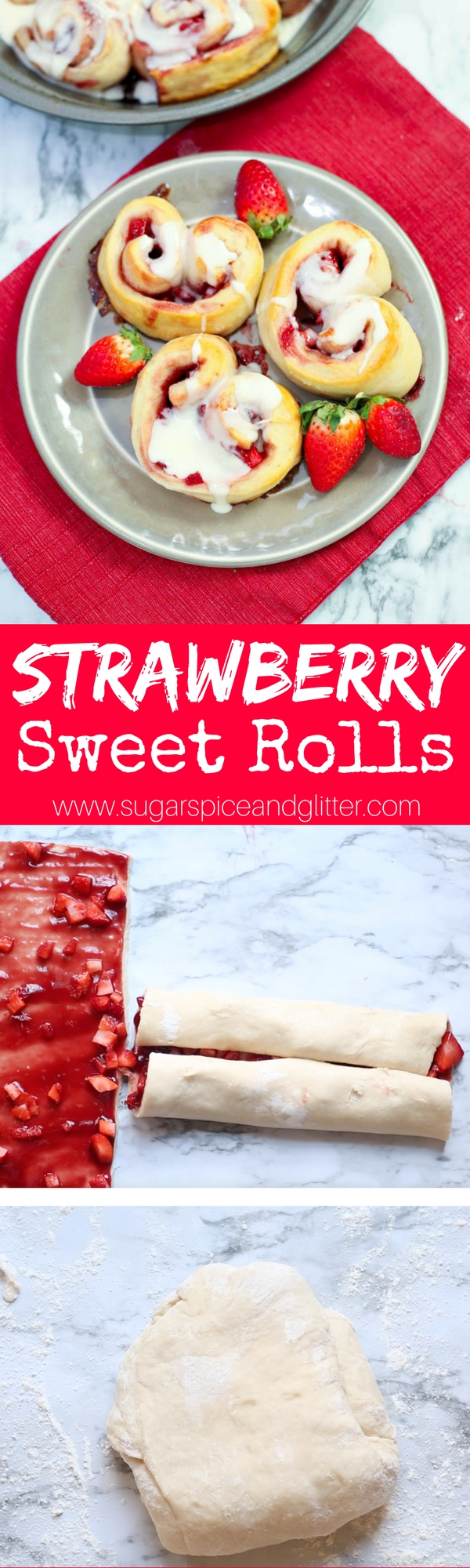 Delicious strawberry sweet rolls - the perfect Valentine's Day brunch or dessert recipe. Heart shaped sweet rolls filled with a fresh strawberry filling and drizzled with cream cheese frosting