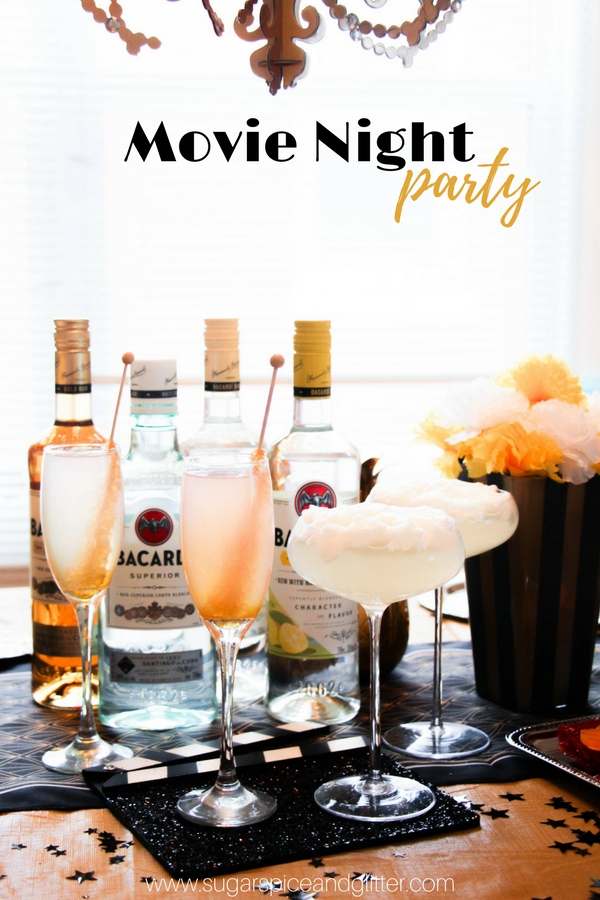 A grown-up movie night party with minimal effort. Gold, glitz and glamour without the fuss - including two delicious rum cocktail recipe and a fun recipe video for DIY no-bake burger cookies.
