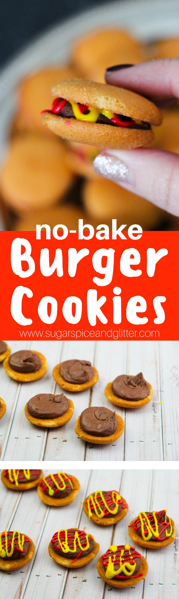 "Fun no-bake burger cookies - a bite-sized dessert perfect for a BBQ or kids' party. Set up a mini ""toppings"" bar for kids to make themselves"