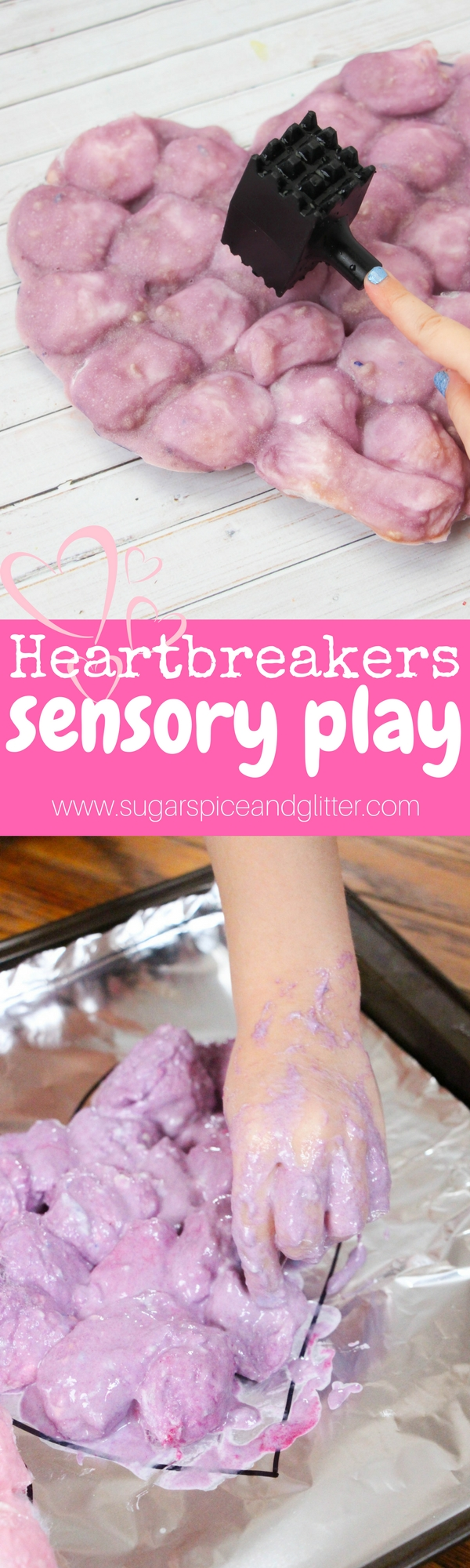 A fun heart-themed sensory play activity for Valentine's Day! Baked cotton balls are so much for for kids to smash and rip apart - especially little heartbreakers!