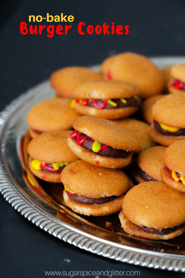 No-Bake Burger Cookies - the perfect kids' cookie recipe for a summer BBQ party.