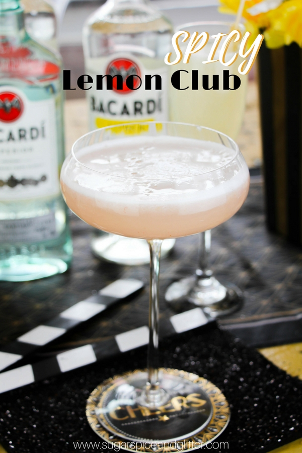 Spicy Lemon Club cocktail recipe - a rum cocktail with lemonade and a frothy egg white for a glamorous cocktail fit for a Hollywood queen