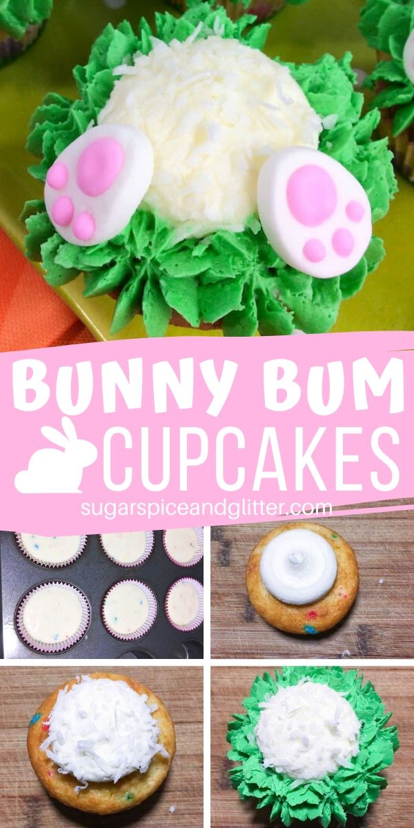 How cute are these Bunny Cupcakes? Bunny Bum Cupcakes are a fun Easter dessert perfect for kids - or kids at heart! (And don't worry, they're super simple to make!)