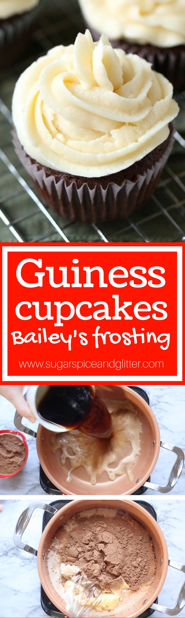 How to make Chocolate Guinness Cupcakes with Bailey's Irish Cream Frosting - a boozy cupcake recipe that is utterly decadent with a rich chocolate flavor and velvety frosting