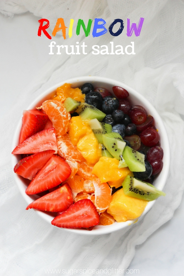 A healthy rainbow fruit salad recipe kids can make! Perfect for a healthy St Patrick's Day breakfast or snack, or just a colorful way to get kids to eat fruit