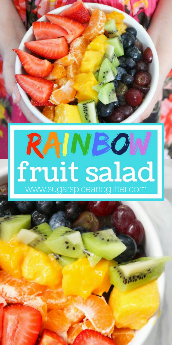 Rainbow Fruit Salad - a delicious smoothie bowl topping or fun party food that won't give kids a sugar high!