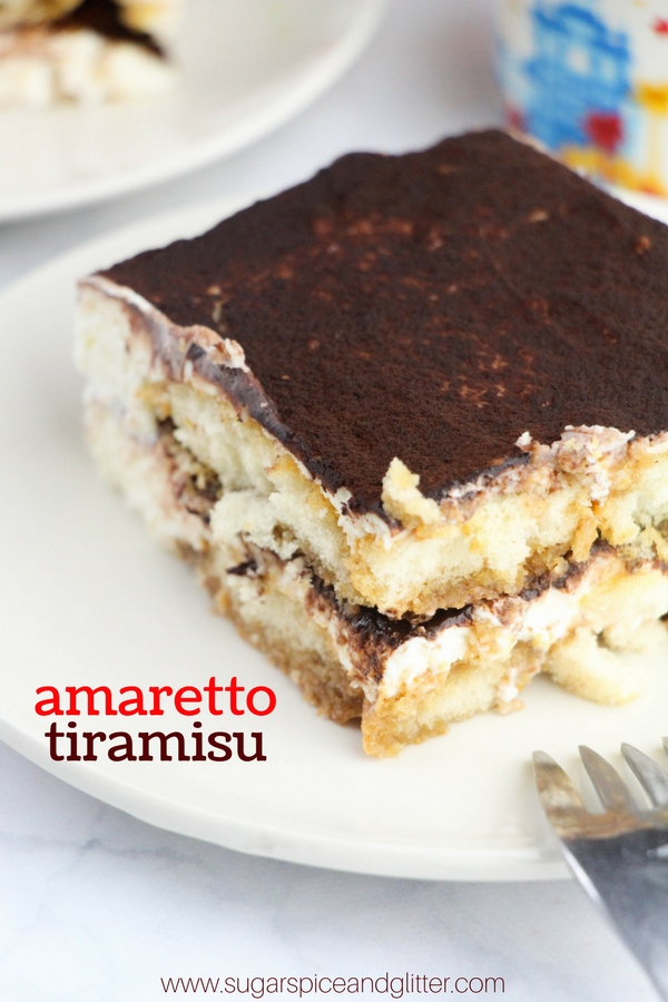 A delicious and authentic Tiramisu recipe, with amaretto and coffee-soaked sponge layers and delicious creamy marscapone