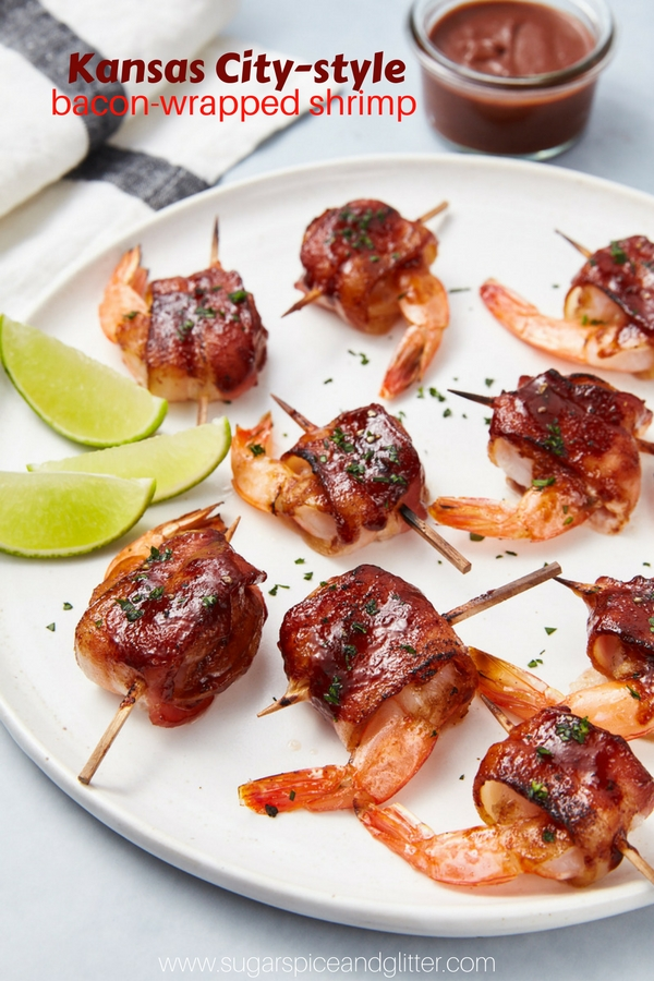 The perfect BBQ appetizer, this Kansas City-inspired Bacon-wrapped Shrimp is dabbed with delicious BBQ sauce for a fun party appetizer