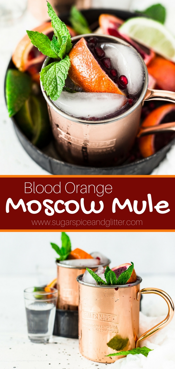 A delicious twist on a classic Moscow Mule - this Blood Orange Vodka Cocktail is crisp and refreshing with a bit of bite from the ginger beer