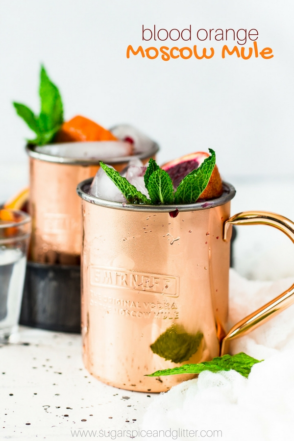 Amazing Blood Orange Moscow Mule is packed with the bite of ginger beer, the intense orange-raspberry flavor of the blood oranges rounded out by the addition of lime, the fresh mint and of course, the little pops of winter flavor from the pomegranates.