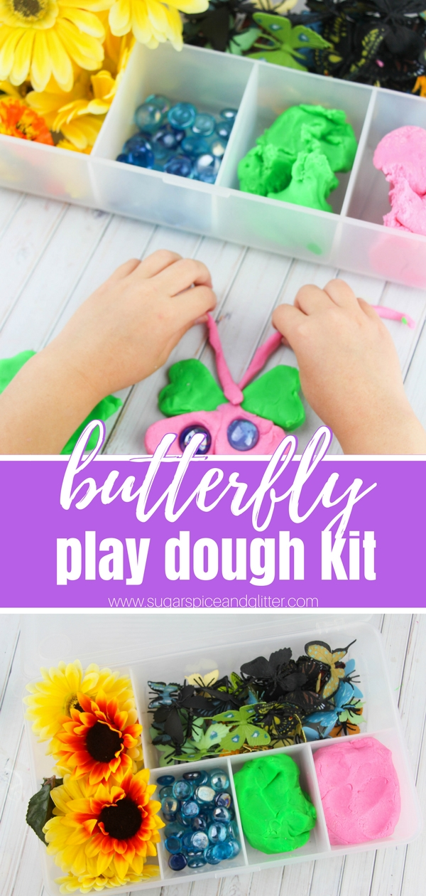 Super simple butterfly play dough kit - a homemade gift or a great quiet time sensory play activity for kids