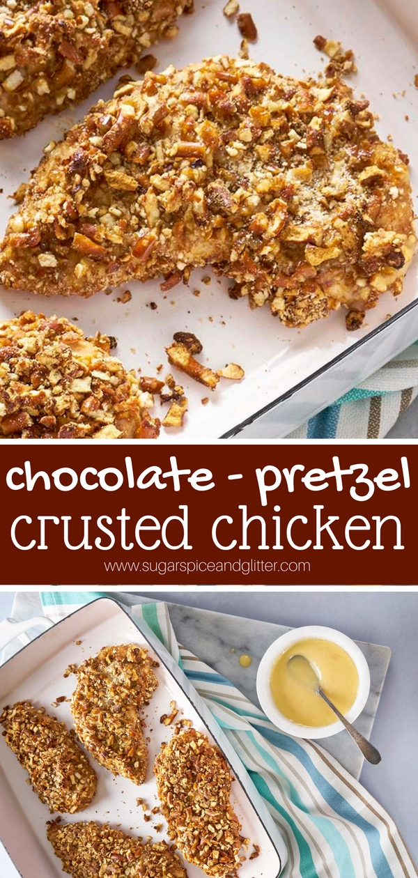 Cocoa is the secret ingredient to this addictive crunchy chicken recipe which can be made gluten-free if you want! Pretzels help give this recipe a real crunch